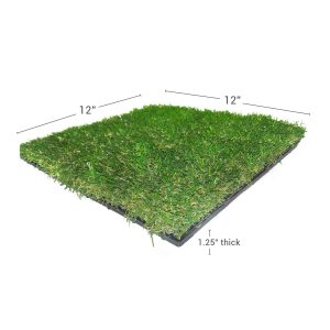 Artificial turf deck tile through shot showing deck tile dimensions