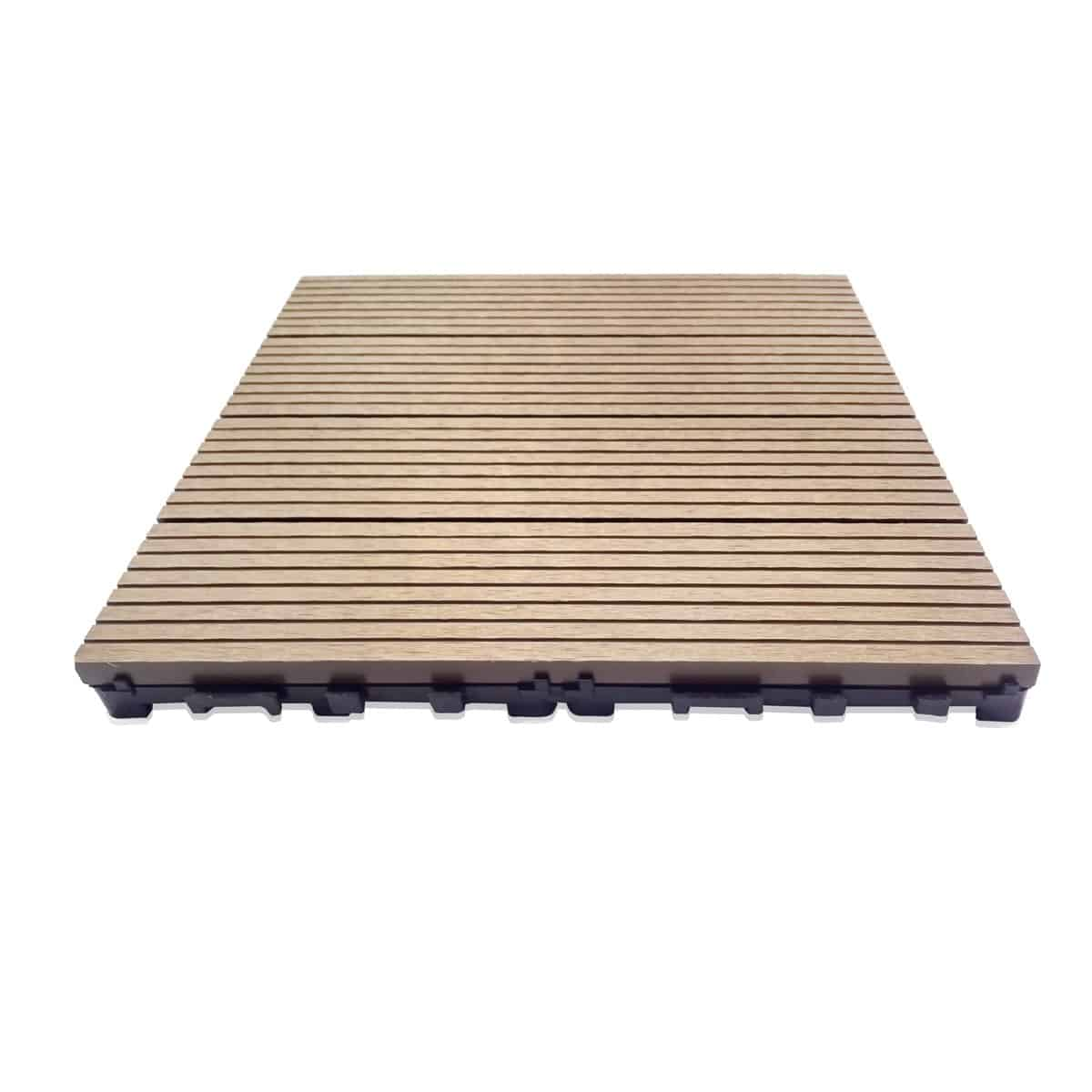 Dura tile wood plastic composite wpc deck tiles teak Composite flooring for decks