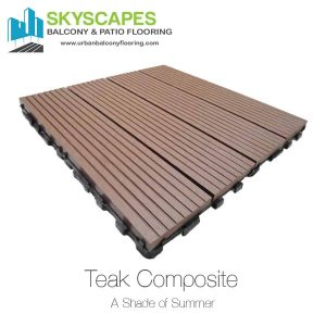 Teak, 4-slat, ridged WPC Tile of a light brown colour, seen on angle. Measures 1 by 1 feet. Skyscapes green and blue logo at top-left of image. Outdoor Floor Tiles and Installation from Skyscapes Urban Balcony Flooring.