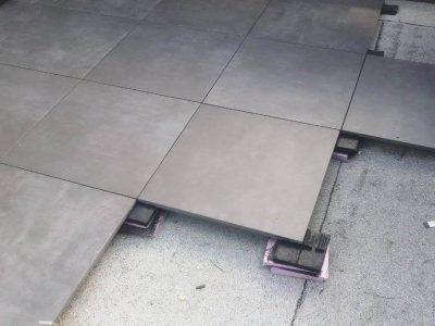 2 by 2ft porcelain beton Antracite burlington progress shot 2