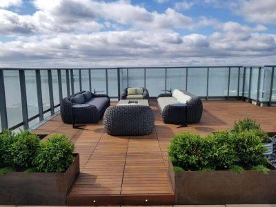 Condo balcony with Ipe hardwood structural flooring